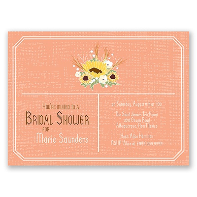 Country Sunflowers - Corabell - Bridal Shower Invitation