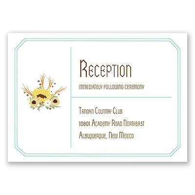 Country Sunflowers - Fountain - Reception Card