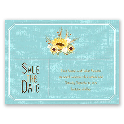 Country Sunflowers - Fountain - Save the Date Card
