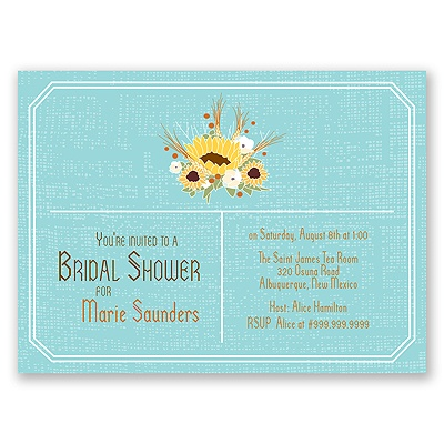 Country Sunflowers - Fountain - Bridal Shower Invitation