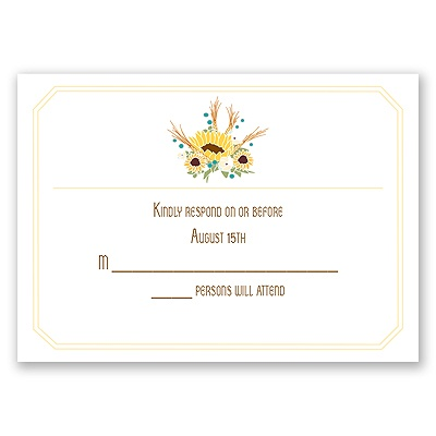 Country Sunflowers - Honey - Response Card