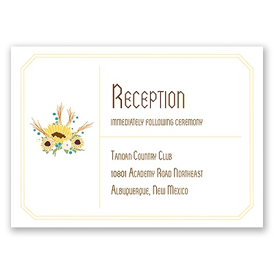 Country Sunflowers - Honey - Reception Card