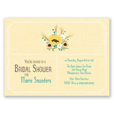 Country Sunflowers - Honey - Bridal Shower Invitation