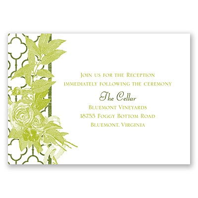 Rustic Roses - Reception Card