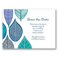 Rustic Leaves - Aqua - Save the Date Card
