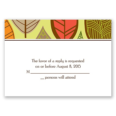 Rustic Leaves - Limelight - Response Card and Envelope