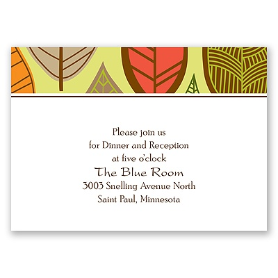 Rustic Leaves - Limelight - Reception Card