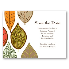 Rustic Leaves - Limelight - Save the Date Card
