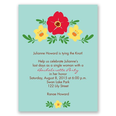Blooming Vintage - Aqua - Bachelorette Party Invitation