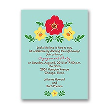 Blooming Vintage - Aqua - Engagement Party Invitation
