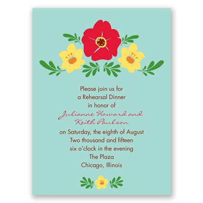 Blooming Vintage - Aqua - Rehearsal Dinner Invitation