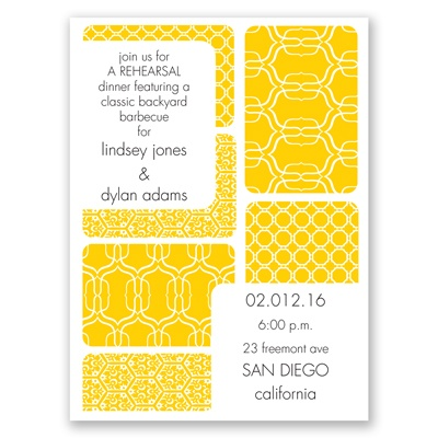 Bold Patterns - Rehearsal Dinner Invitation