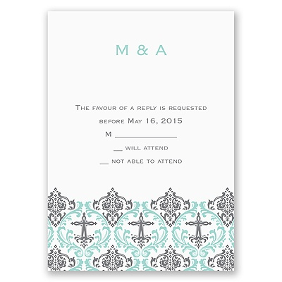 Damask Cross - Response Card and Envelope