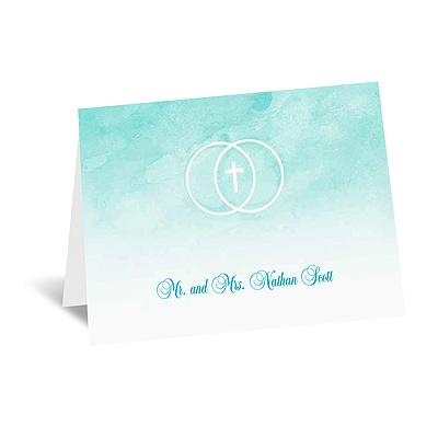 United In Faith - Aqua - Note Card and Envelope