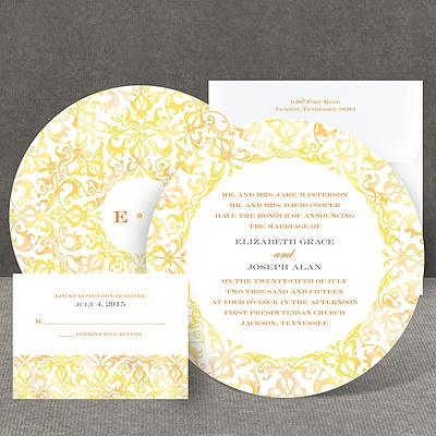 Filigree Damask - Canary - Invitation