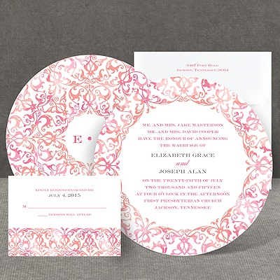 Filigree Damask - Melon - Invitation