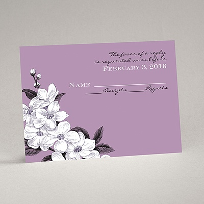 Dainty Blossoms - Lavender - Response Card and Envelope