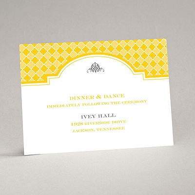 Gingham Crest - Reception Card