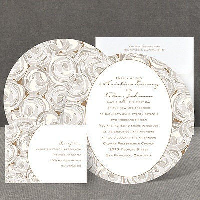 Mod Roses - Latte - Invitation