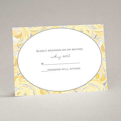 Mod Roses - Pewter - Response Card and Envelope