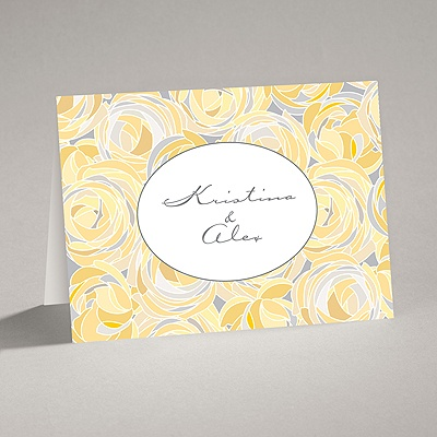 Mod Roses - Pewter - Note Card and Envelope