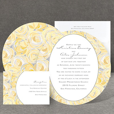 Mod Roses - Pewter - Invitation