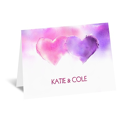 Watercolor Hearts - Note Card and Envelope