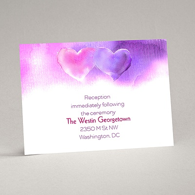 Watercolor Hearts - Reception Card