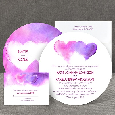 Watercolor Hearts - Invitation