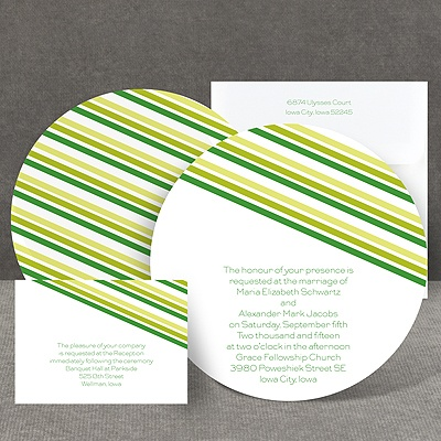 Stylish Stripes - Kelly Green - Invitation