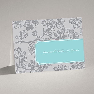 Blossom Border - Fountain - Note Card and Envelope