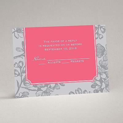 Blossom Border - Posie Pink - Response Card and Envelope