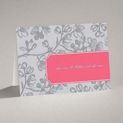 Blossom Border - Posie Pink - Note Card and Envelope