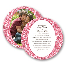 Surrounded in Damask - Posie Pink - Invitation