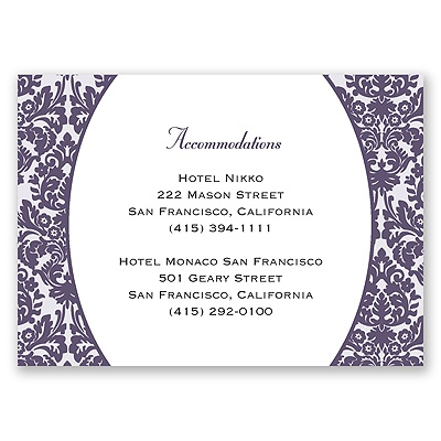 Damask Borders - Accommodations Card