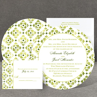 Romantic Mosaic - Pine - Invitation