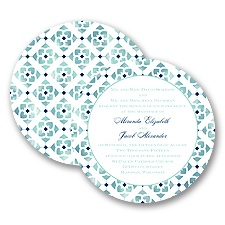 Romantic Mosaic - Navy - Invitation