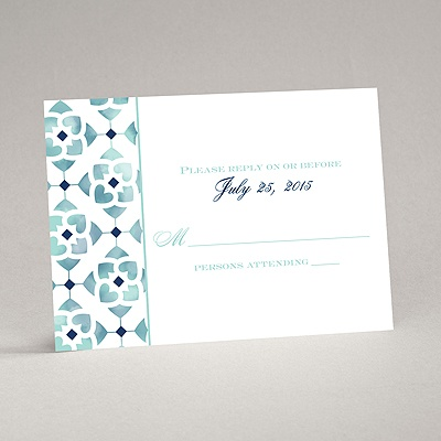 Romantic Mosaic - Navy - Response Card and Envelope