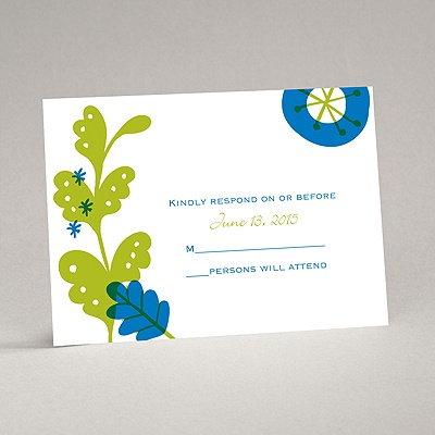 Funky Floral - Malibu - Response Card and Envelope