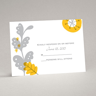 Funky Floral - Pewter - Response Card and Envelope
