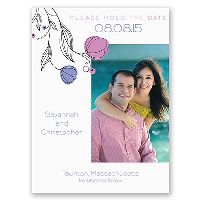 Delicate Posies - Save the Date Card