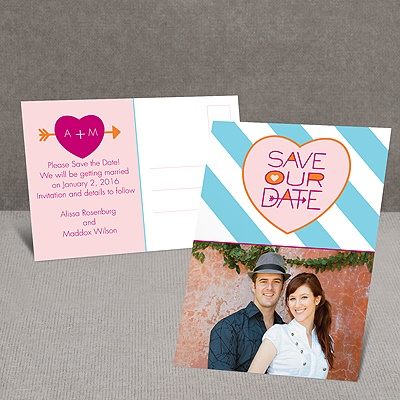 Heart and Arrow - Save the Date Postcard