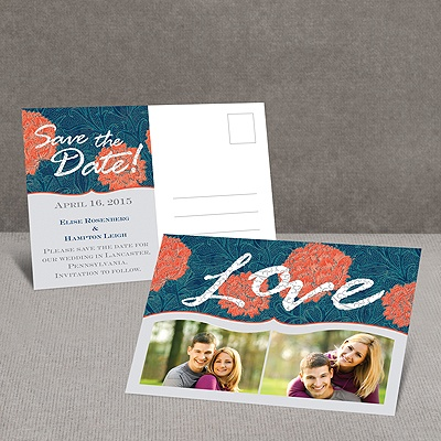 Flowery Love - Save the Date Postcard