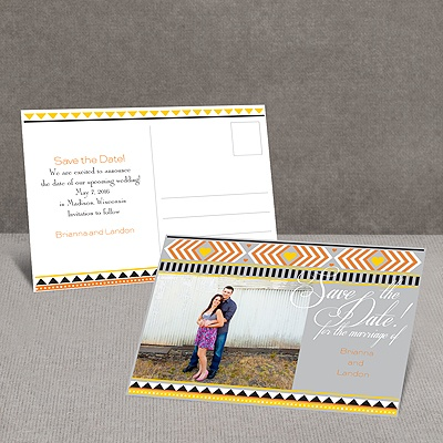 Tribal Hearts - Citrus - Save the Date Postcard