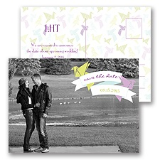 Paper Cranes - Freesia - Save the Date Postcard