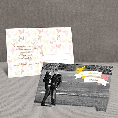 Paper Cranes - Melon - Save the Date Postcard