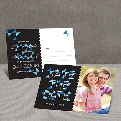 Triangle Style - Black - Save the Date Postcard