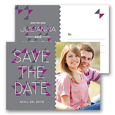 Triangle Style - Pewter - Save the Date Postcard