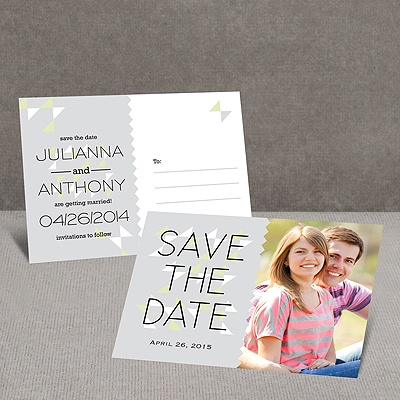 Triangle Style - Steel - Save the Date Postcard