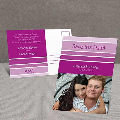 Ombre Stripes - Save the Date Postcard